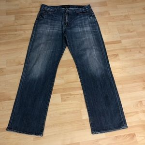 Men's jeans relaxed  distressed straight jeans